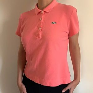 Lacoste Womens pink polo vintage